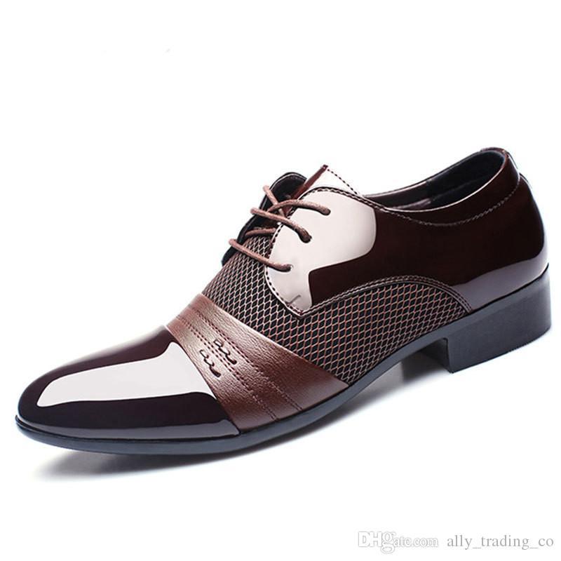 Luxus Klassische Mann Spitzschuh Kleid Schuhe Marke Herren Lackleder Schwarz Hochzeit Schuhe Oxford Formale Schuhe Big Size mode
