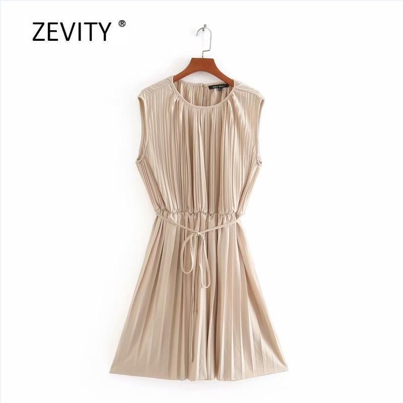 las mujeres del o cuello delgado sin mangas vestido plisado de encaje elástico en la cintura femenina elegante vestido ocasional sólido hasta mini-vestidos DS4006