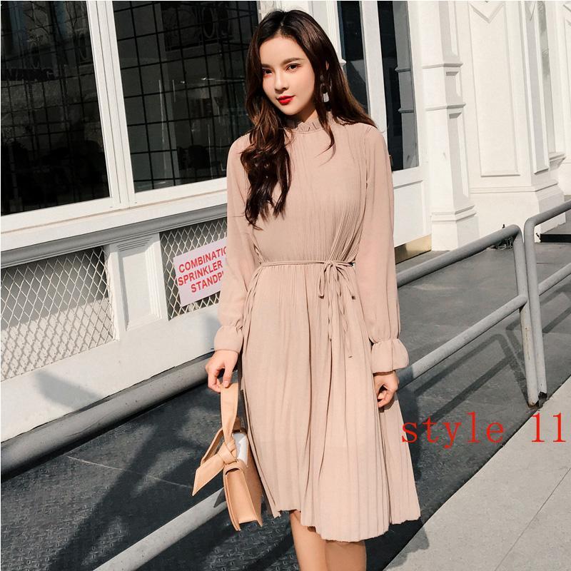Duas camadas Floral vestido de chiffon de cintura elástica Mulheres Spring A-line Lace Up alargamento da luva Bohemian Vestido Femme Vestidos 2019