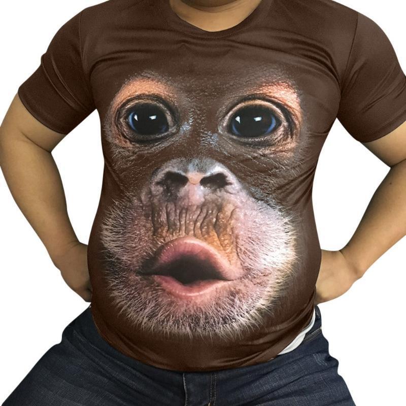 Мужские футболки 3D печатных животных обезьяна футболка с коротким рукавом забавный дизайн повседневные топы тройники мужской Хэллоуин футболка топы тройник