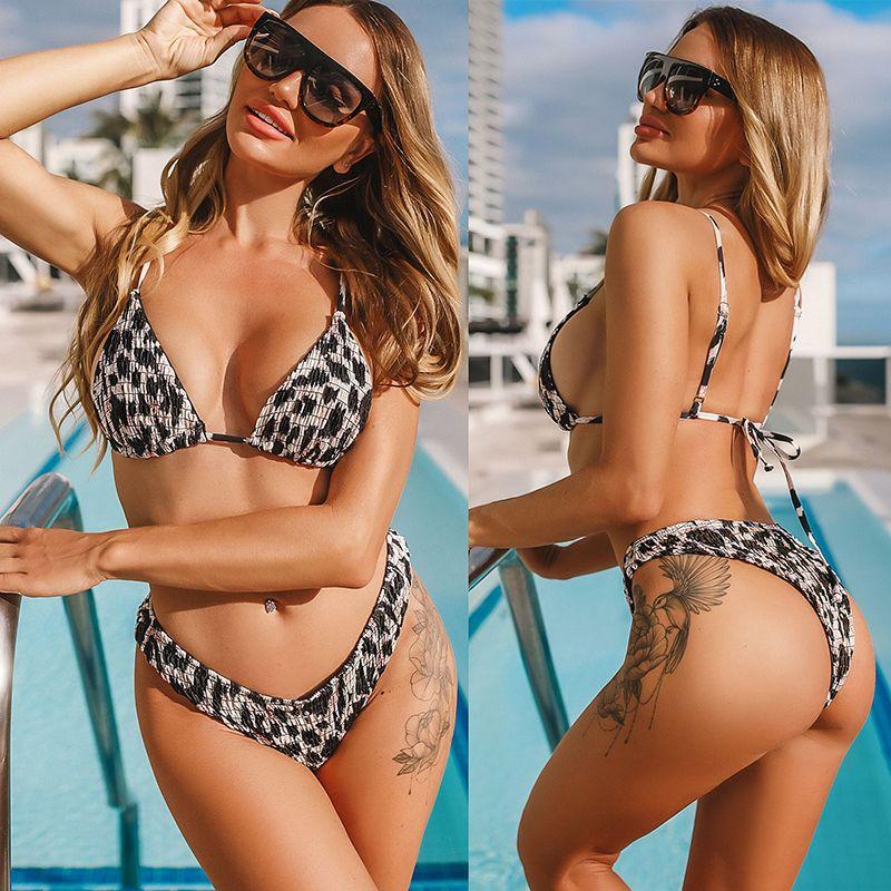 Bikini High Cut Leopard Bikini Set maillot de bain Beachwear Push Up Maillots de bain Bikinis 2020 deux pièces Maillots Femmes