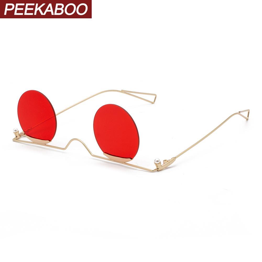Peekaboo mens óculos redondos óculos de ouro vermelho círculo sem moldura sol partido do vintage para o metal mulheres ouro uv400 MX200619