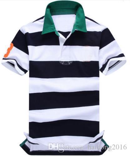 Erkekler Çizgili Polo Gömlek Homme Büyük At Nakış Bahar Erkek Klasik Tişörtler Kısa Kollu Aşağı Yaka CAMISAS Polos Beyaz Yeşil çevirin
