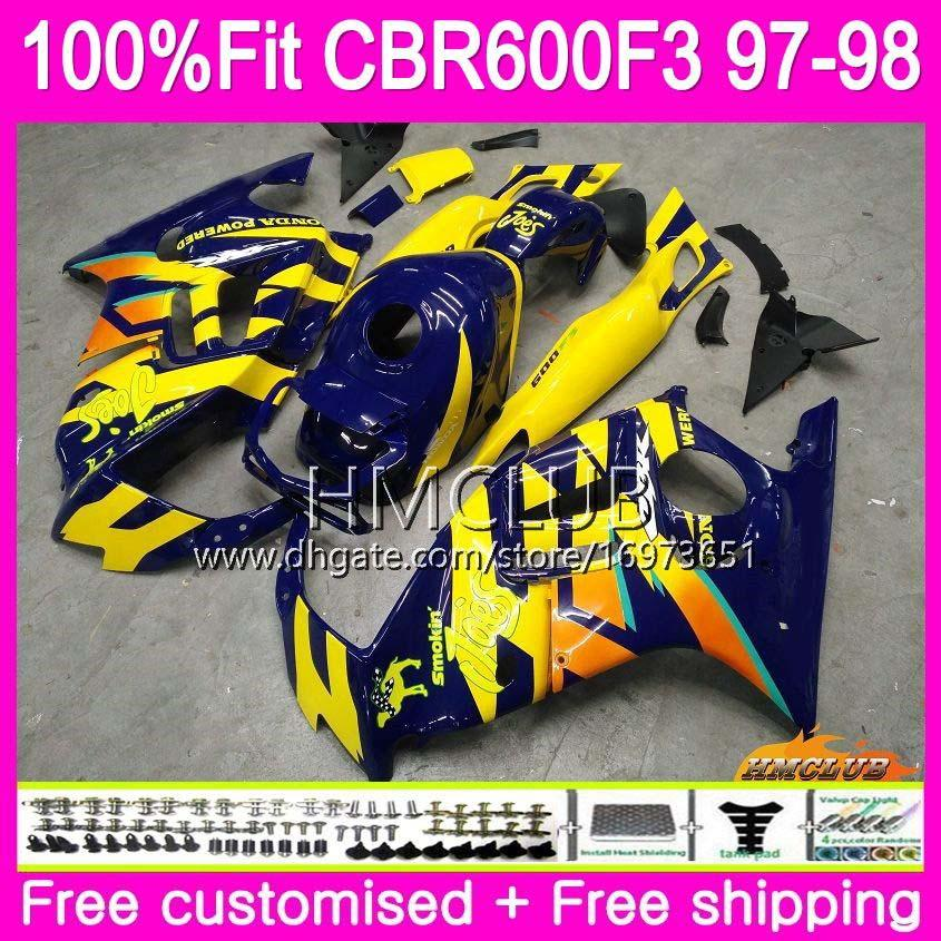 حقن لهوندا CBR600 F3 FS CBR600FS CBR 600 F3 97 78HM.37 CBR 600F3 CBR600RR CBR600F3 97 98 1997 1998 100٪ Fit Yellow Blue Fairings