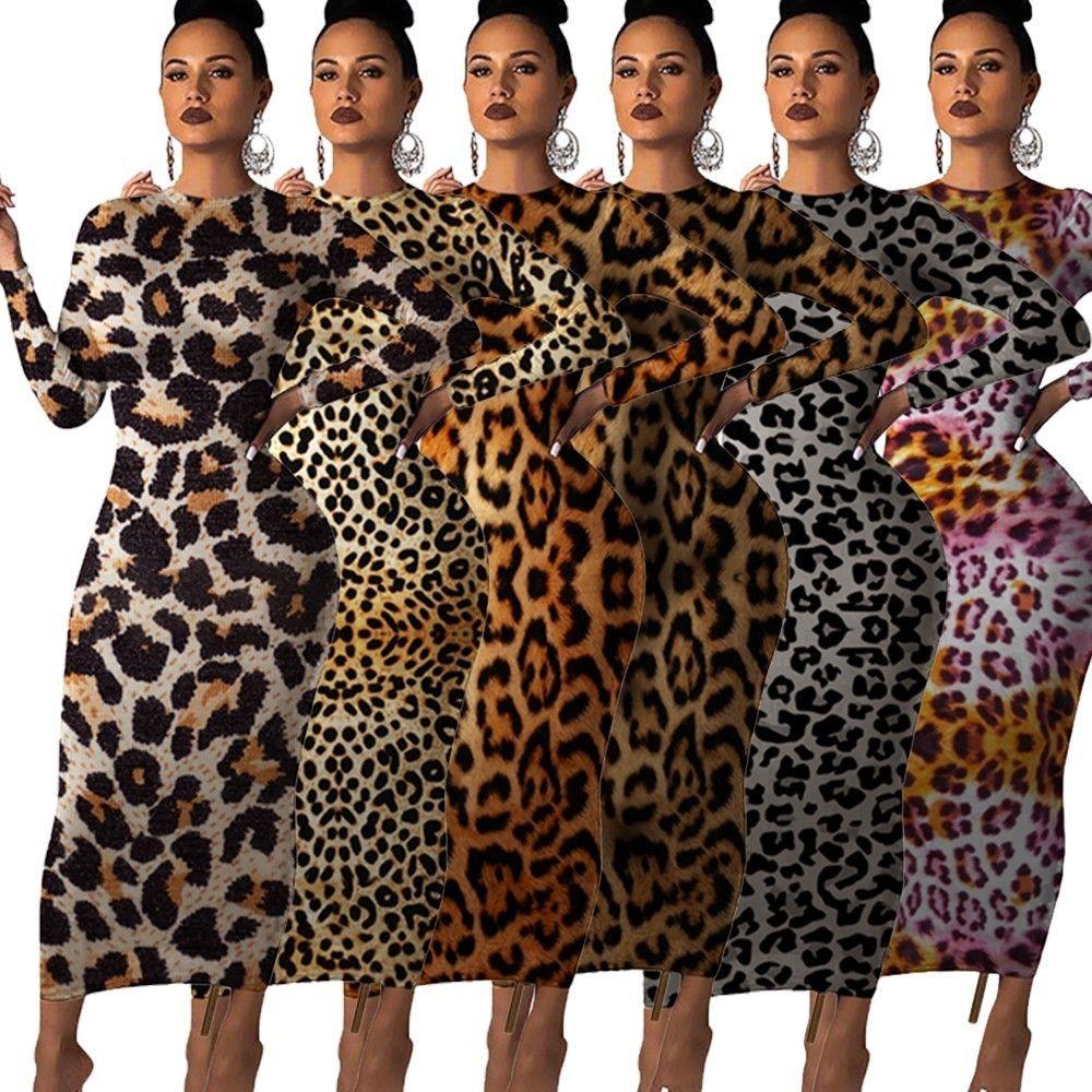 2019 Autumn women leopard print long sleeve o-neck bodycon midi maxi dress Female club night party long dresses vestidos GL241