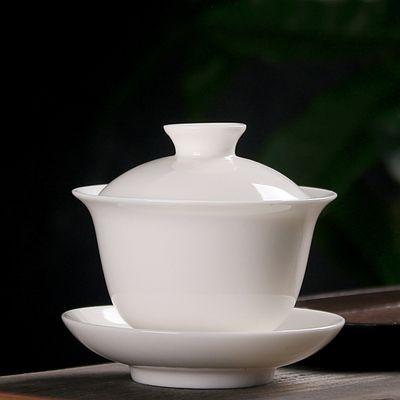 Dechua porcelana blanca cubierta del tamaño del bote hogar tazón sancai kung fu taza de juego de té cubierta de la taza de té para sancai tazón de té