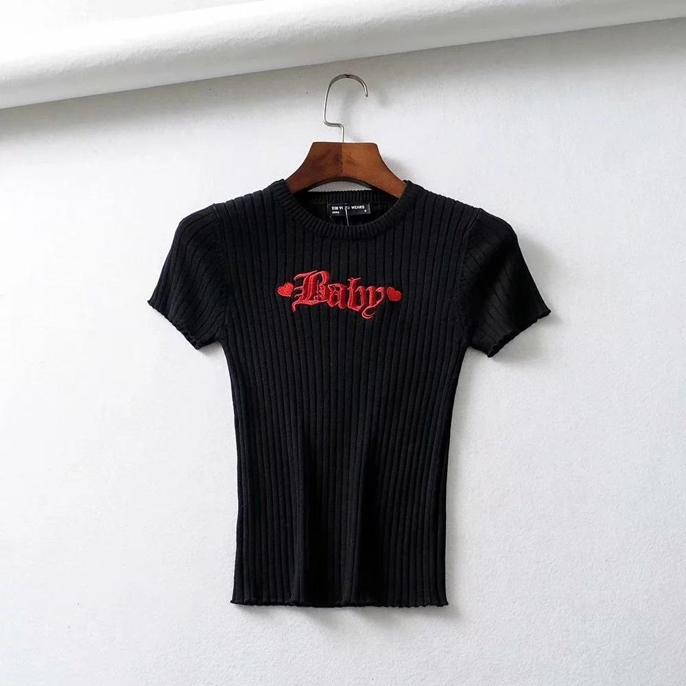 chic, manches couleur tricot été des femmes minces 2019 pur brodé court t-shirt Slim Top caleçon brodé caleçon chemise de base