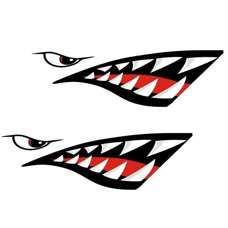 A prueba de agua 2 dientes de tiburón Piezas Boca Decal Pegatinas para kayak canoa bote Barco duradero pegatinas Acce Inicio Alquiler de decoración de la ventana
