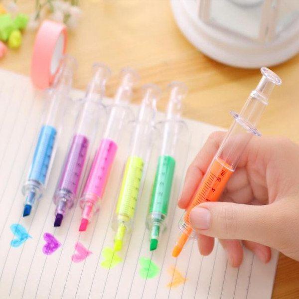 6 색 참신 간호사 니들 주사기 모양의 형광펜 마커 마커 펜 색상 펜 문구 학교 용품