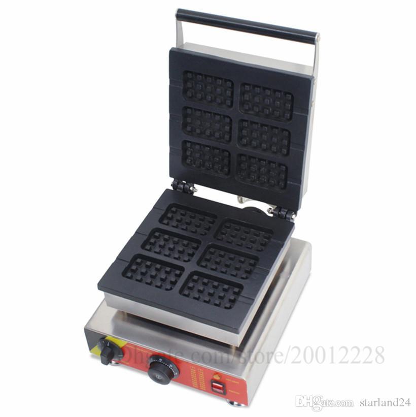 Ticari Kart-şekil Lolly Waffle Makinesi Yapışmaz 6 Kalıpları 1500 W Aperatif Sokak Gıda Cihazı CE Onayı Yepyeni