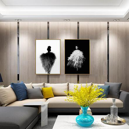 Nordic Feather Dressing Model Fashion Black White For Living art wall decoration hot sale popular poster 6