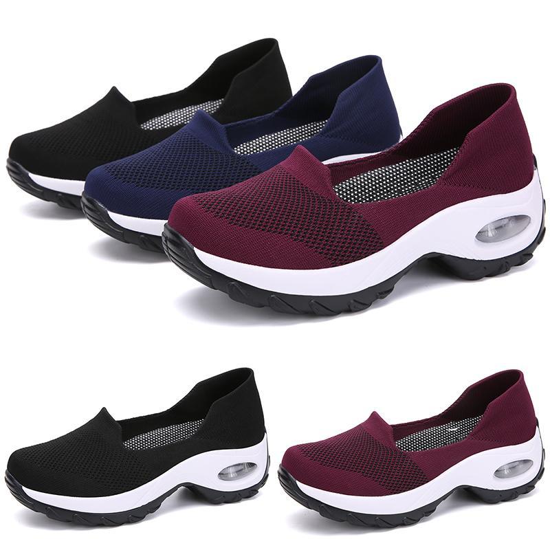 2020 mujeres Negro Azul Rojo funcionamiento de la muchacha zapatos de la señora simple TIPO 1 jogging Marca de corte bajo de la manera barata formadores de diseño deportivo zapatillas de deporte 39-44