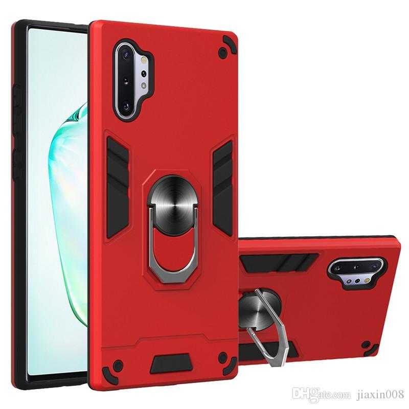 Zırh Metal Araba Halka Tutucu Vaka İçin Samsung Galaxy A51 / A71 / A10 / M10 / A40 / A60 / M40 / A70 / A70S Manyetik Tampon Telefon Arka Kapak