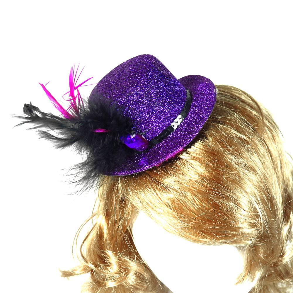 Sombrero de copa en la pinza de pelo 50% de descuento para 3pcs diseño elegante suministros púrpura cumpleaños de la princesa despedida de soltera divertida pluma acontecimiento del partido