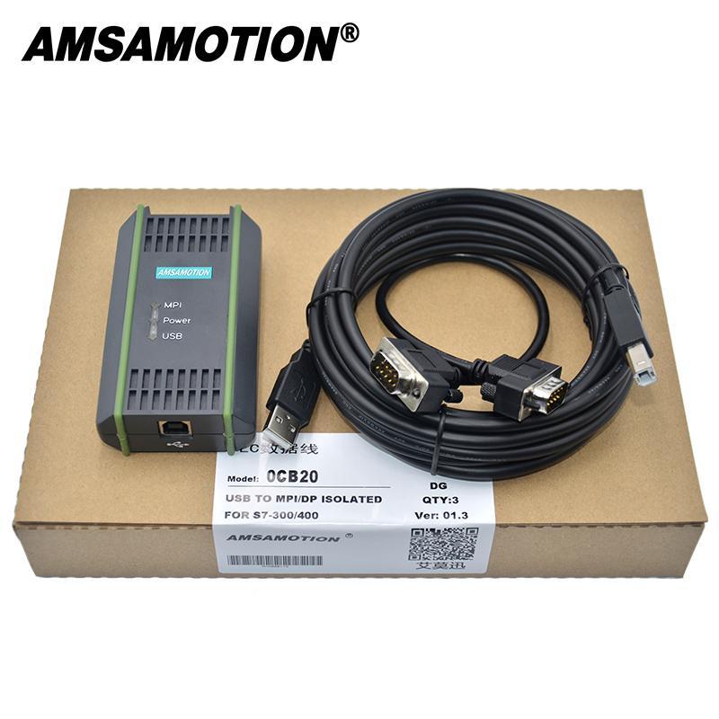 Amsamtion USB-MPI USB-PPI Para Siemens S7-200 300 400 6ES7 972-0CB20-0XA0 MPI PPI DP isolamento óptico Tipo PLC programação a cabo USB Cable