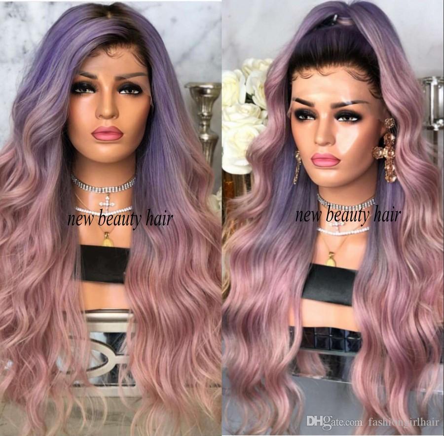 2019 новинка знаменитости стиль парик синтетические черные корни фиолетовый ombre розовый кружева перед синтетический парик термостойкие волосы для женщин