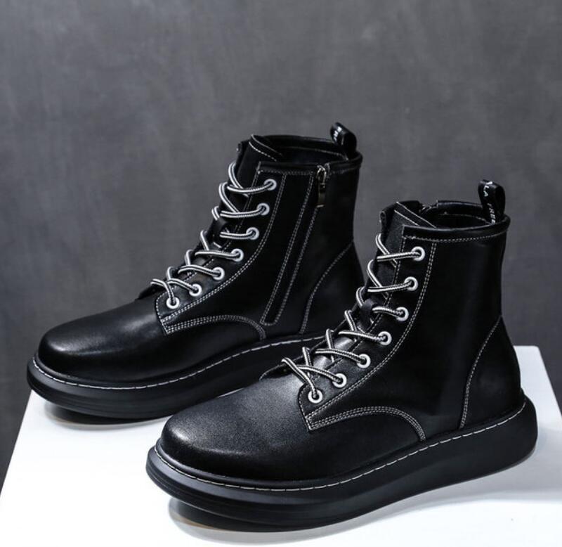 gruesas mujeres masculinas Martin zapatos cremallera lateral zapatos de diseño de lujo triples o invierno únicos ocasionales, altos zapatos de cuello Martin V59