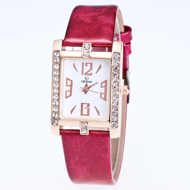 cheap simple design crystal lady watch fashion square rhinestone quartz watch WITH BOX