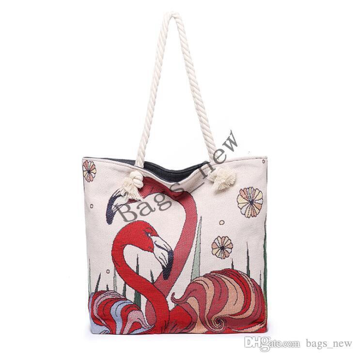 Фламинго Холст Сумки Животные Printed Eco многоразовый Складная сумка сумка для женщин Tote хлопка сумка Бесплатная доставка