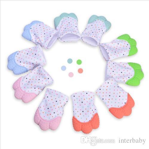 Silicone Teether Baby Pacifier Gloves Toddler Teething Gloves Newborn Nursing Mittens Kids Teether Chewable Nursing Beads Sound Mitts YL805