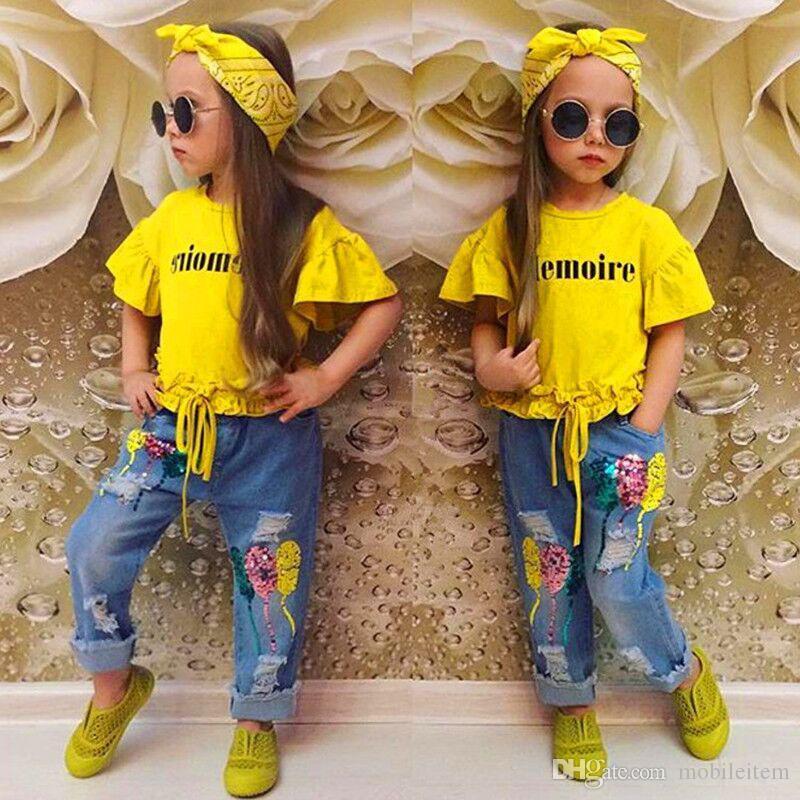 여름 아기 옷 걸이 세트 편지 노란색 트럼펫 슬리브 T - 셔츠 + 장식 조각 청바지 + 헤어 밴드 어린이의 3 조각 정장 2480