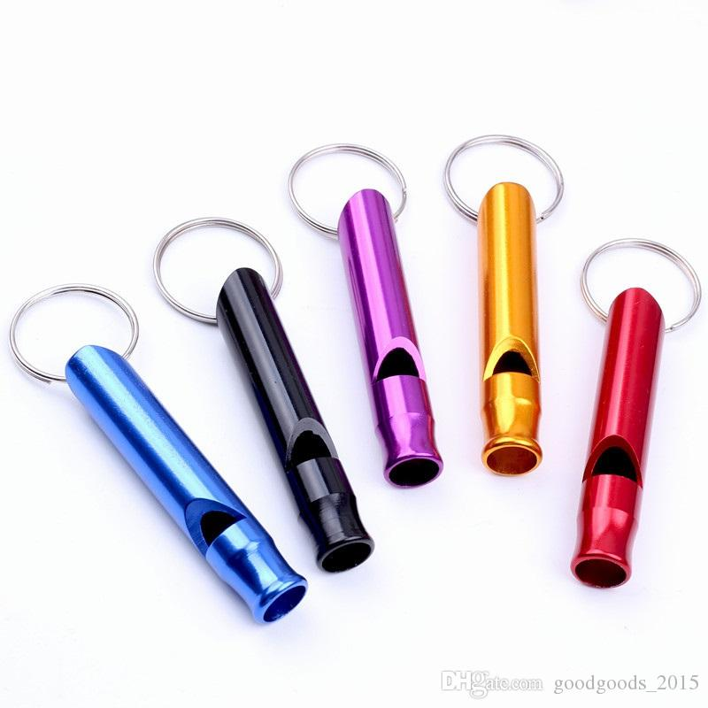 Mini Aluminum Alloy Whistle Key ring Keychain For Outdoor Emergency Survival Safety Sport Camping Hunting DLH294