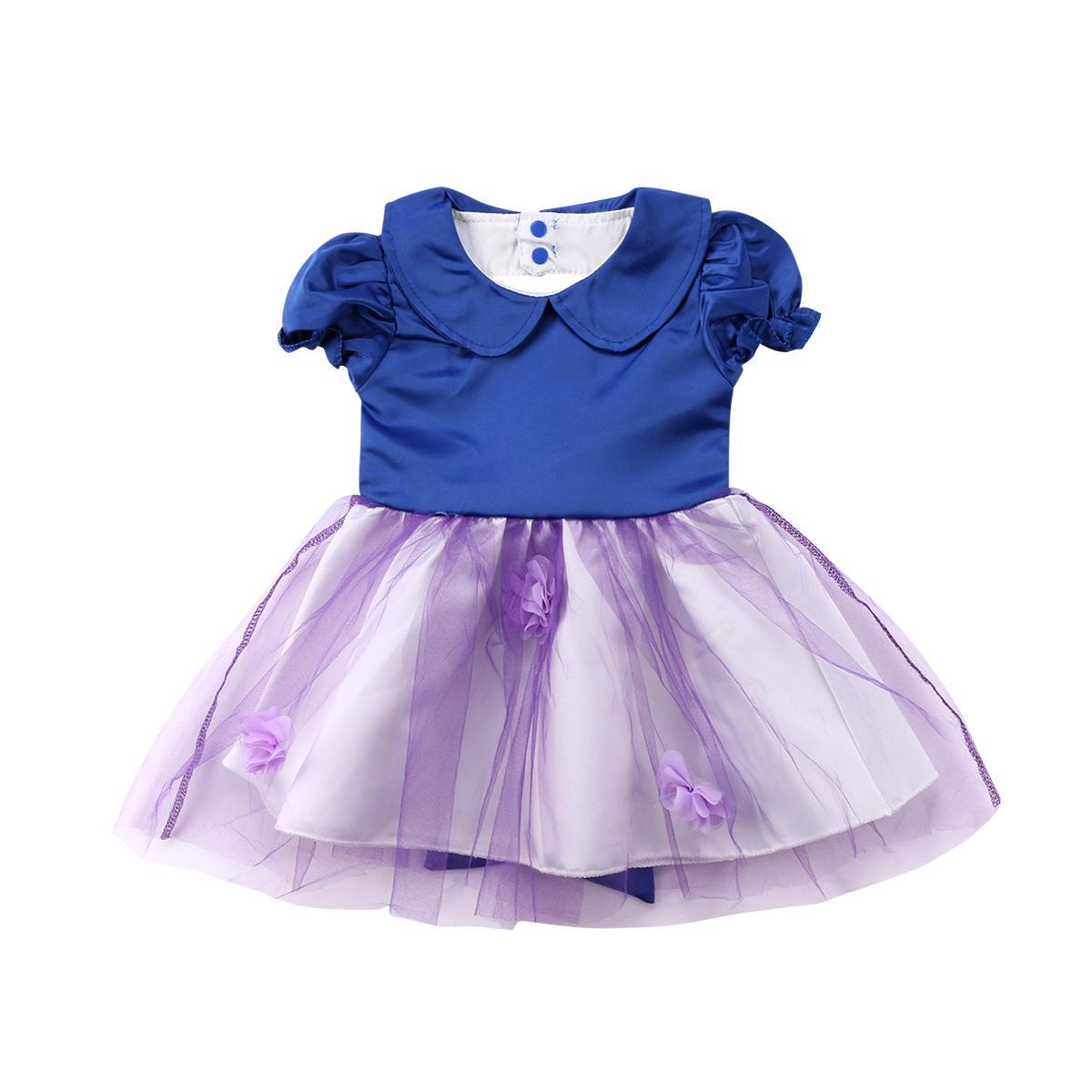 Infantil Sirsaca Partido deshierbe princesa de la niña de baile formal sin respaldo ropa de vestir de la manga corta de encaje balón vestido de los vestidos Sólido