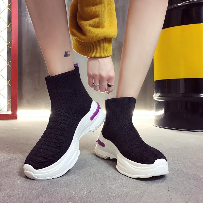 COOTELILI Primavera Otoño Zapatillas Mujer Plataforma plana Calzado casual Mujer Botines Resbalón en transpirable Zapatos de mujer