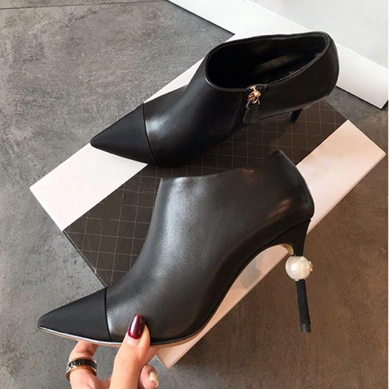 أحذية خنجر عالية الكعب تصميم الأزياء ewome جلد طبيعي اللباس أحذية لحفلات أعياد الميلاد مصمم مدبب أصابع sra zapatos مع اللؤلؤ
