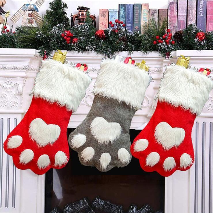Christmas Stocking Hanging Socks Tree Ornament Decor Hosiery plush Xmas Socks Dog Cat Paw christmas ornaments kdis Gift Candy Bag LXL268-A