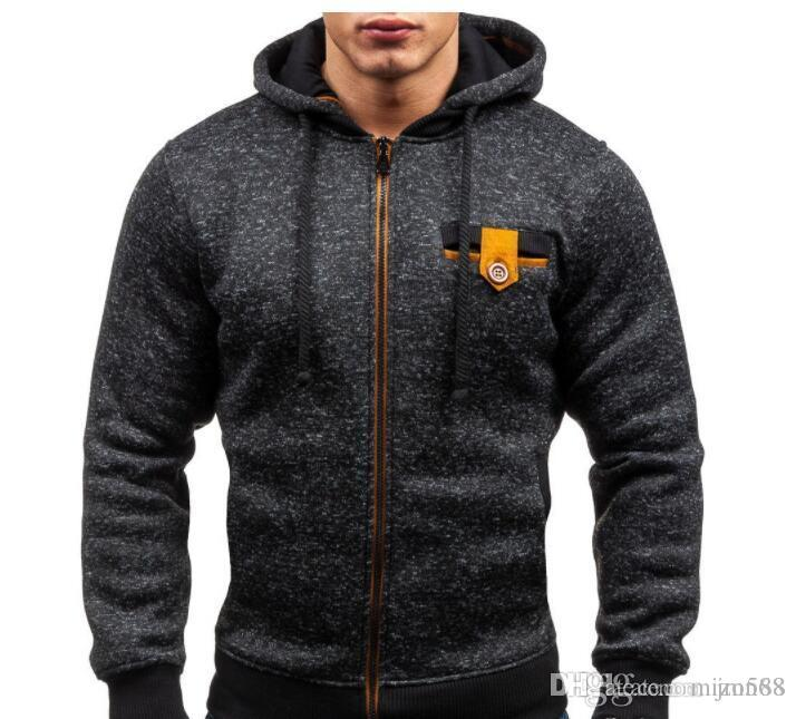 Chaqueta para hombre capó Europea estilo del deporte de los hombres Hoodiers paño grueso y suave de la calle Cardigan Casual chaqueta con capucha Escudo Brand Design Gris Negro Moda