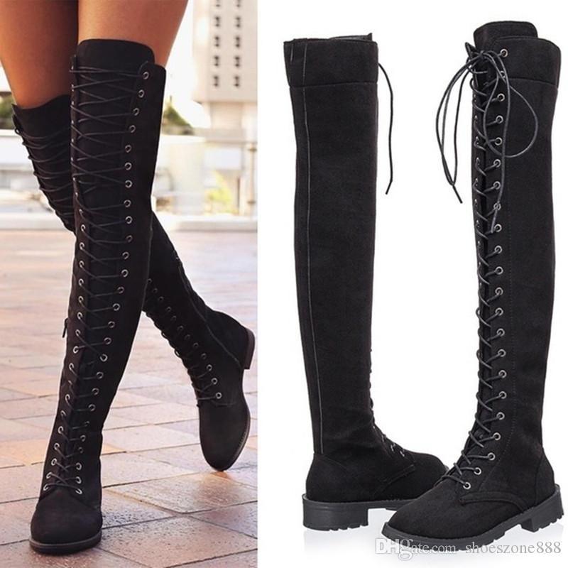 Diz çizmeler üzerinde seksi lace up womens roma tarzı uzun çizmeler kadın süet deri kış uyluk yüksek çizmeler, düşük topuklu zb871