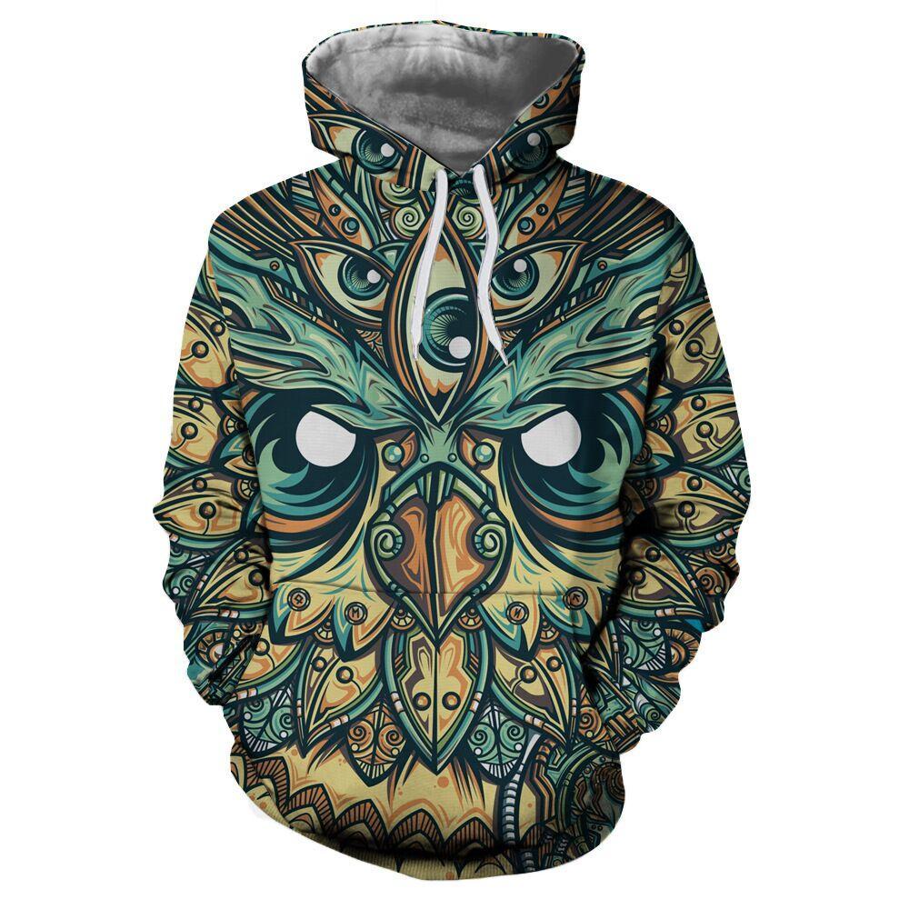 Date Hot Fashion Cute Owl Pattern Hoodies Femmes / Hommes Unisexe À Manches Longues 3D Imprimé Pull Unisexe Hipster Sportwear Hauts Hip Hop H631