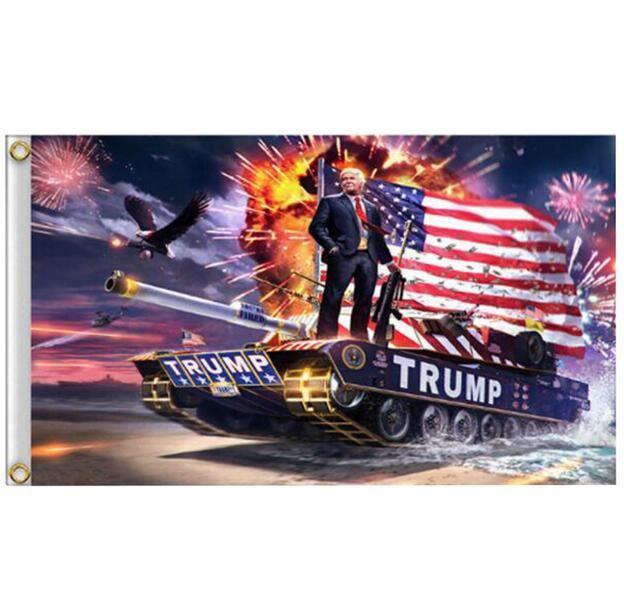 Donald Trump Flag 150 * 90cm Impression numérique Trump Tank Donald 2020 Gardez l'Amérique Grand Drapeau Bannière DHL bateau rapide