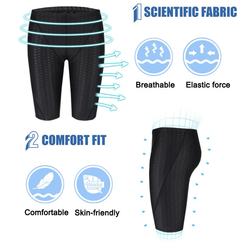 Newly Men Swimwear Swimming Trunks Quick-drying Swim Shorts Beach Breathable with Cap DOD886