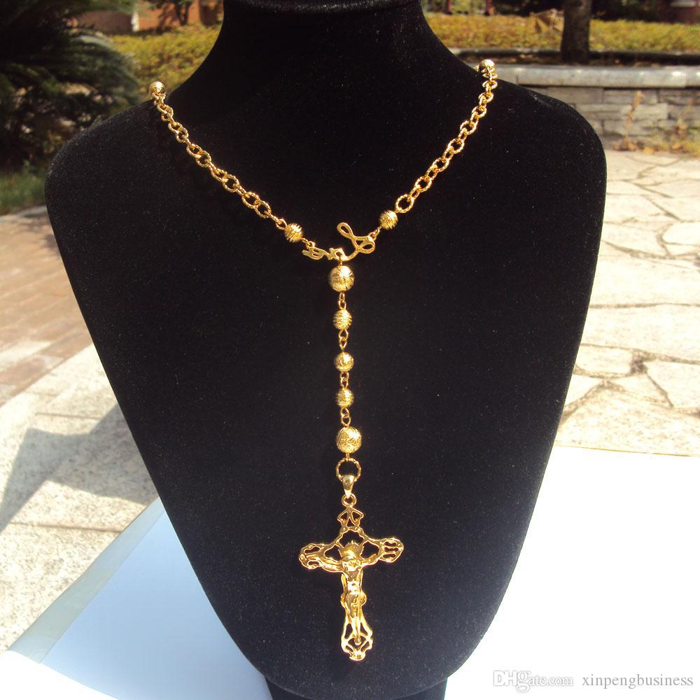 Верные женщины Прохладный кулон Fine желтый 18 к Твердое золото Заполненный Святого Розария Иисус крест Широкий ожерелье шариков цепи Fixed Ensemble