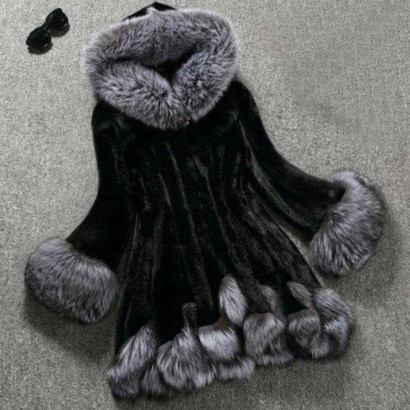 Casacos de pele de mulher e Casacos De Pele Inverno Novo estilo 2019 casaco de capuz casaco de camurça imitação casaco de peles