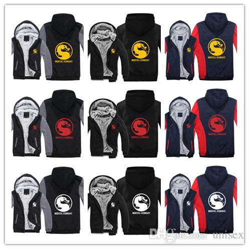 Kış hoody Mortal Kombat baskı logosu Erkek kadın Sıcak Kalınlaşmak Hoodies sonbahar elbise tişörtü Fermuar ceket polar hoodie streetwear
