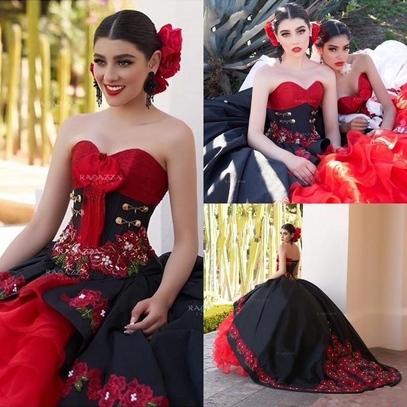 Vestido de bola negra Quinceañera Vestidos 2020 Off Hombro Ruffles Sweet 16 Vestidos Vestidos de Quincaneras Hecho a medida
