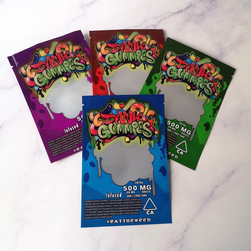 Nueva llegada Maylar bolsa Dank Gummies de la cremallera del bolso seco del tabaco al por menor Bolsa de gominola bolsas de mylar dulces 500mg bolsas de embalaje