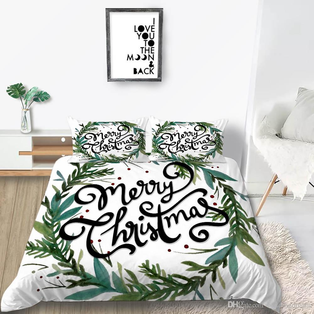 Christmas Bedding Set King Fashion Wreath 3D Duvet Cover Hot Selling Queen Twin Full Single Double Bed Cover with Pillowcase 3pcs