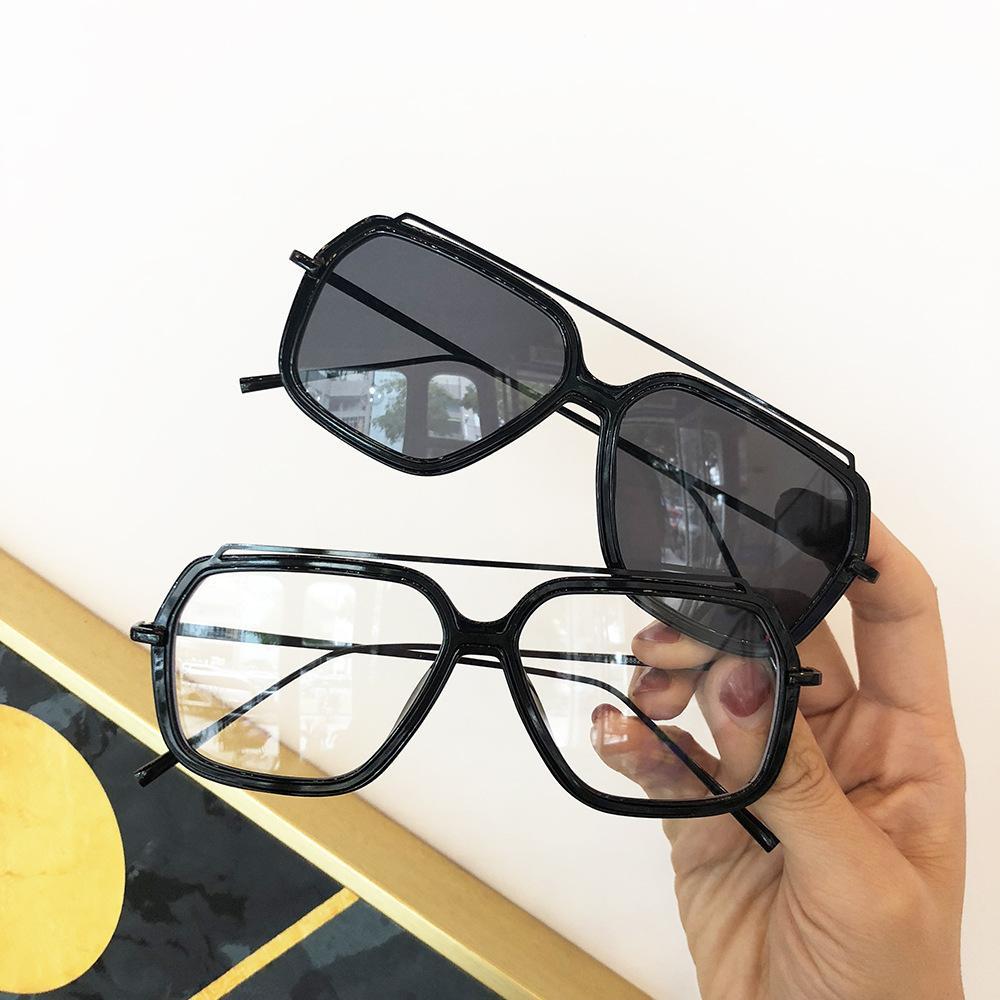 Lüks Punk Işın Vintage Güneş Gözlüğü Kadın Kare Sarı Tasarımcı Gözlük Çift FML 2018 Güneş Kızıl Kare Kadınlar Gözlük Erkekler Sqsms