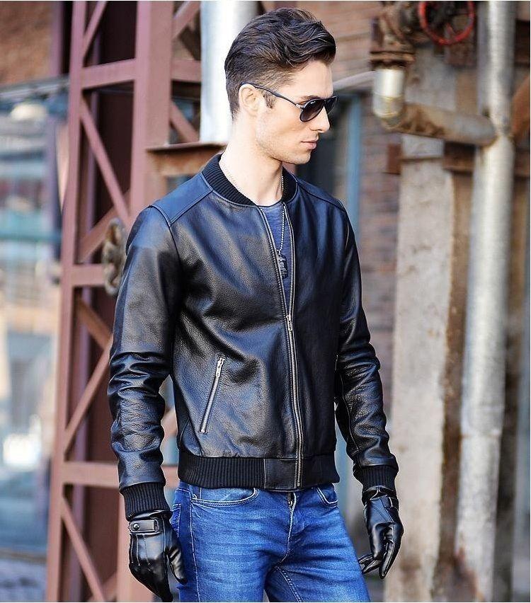 Tamaño libre shipping.Plus mens chaqueta de cuero negro de la motocicleta, homme giacca moto pelle, cuero de vaca genuino, capa delgada del ajuste para el hombre