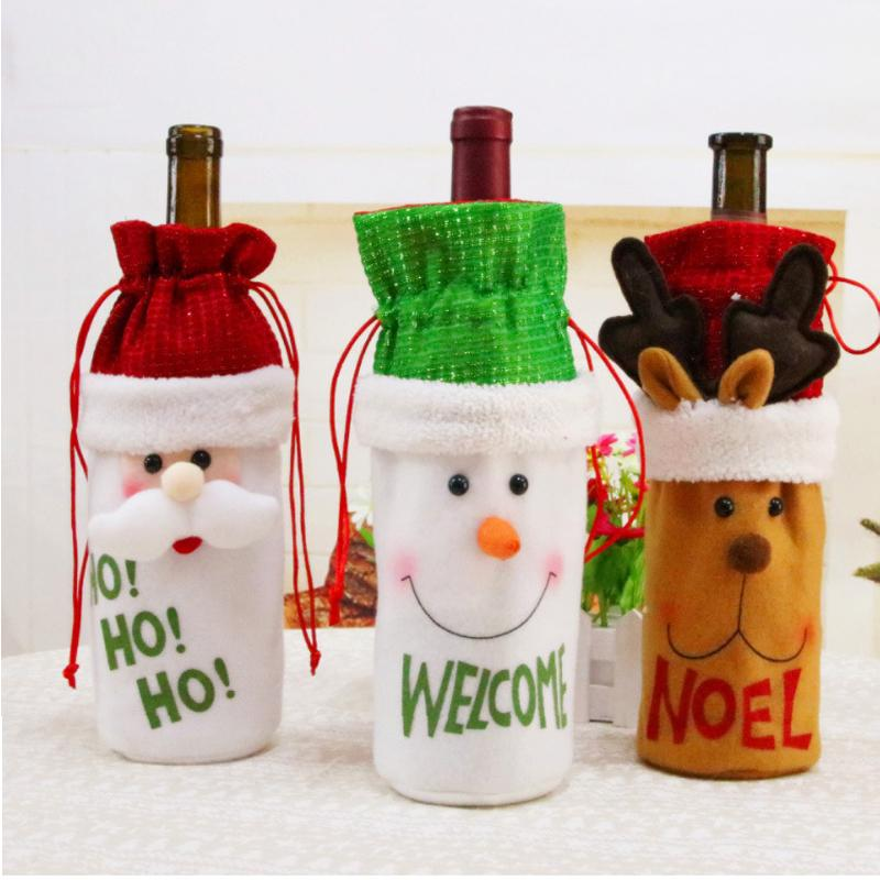 Christmas Wine Bottle Decor Set Santa Claus Snowman Deer Bottle Cover Clothes Wine decorations For New Year Dinner Party