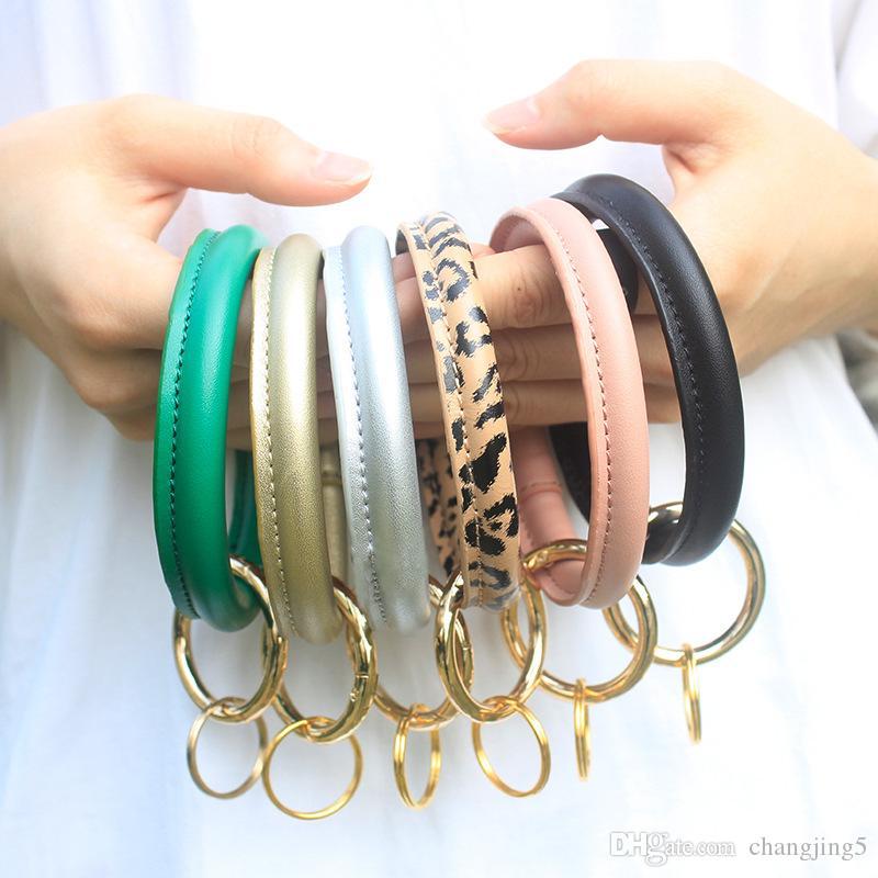 Moda para mujer leopardo pulsera de cuero de la PU la pulsera de cuero pulsera Llavero