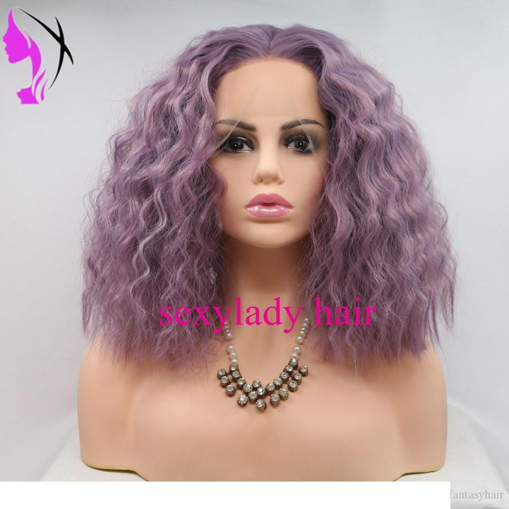 A Purple Short Bob Curly Synthetic Lace Front Simulation Human Hair Wigss With Baby Hair Pre Plucked Brazilian Lace Bob Wigss Bleached