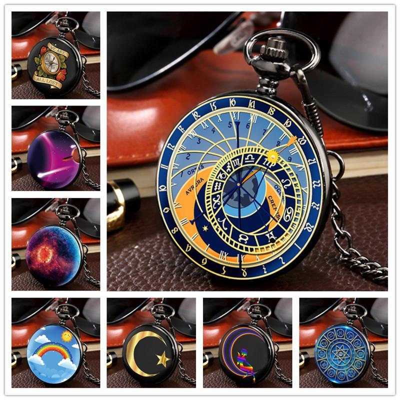 Personalisierte schwarze volle Hunter Fall Sternenhimmel / Rainbow / Blumenmuster Unisex-Quarz-Taschen-Uhr-hängende Kette arabische Zahl Dial Geschenke