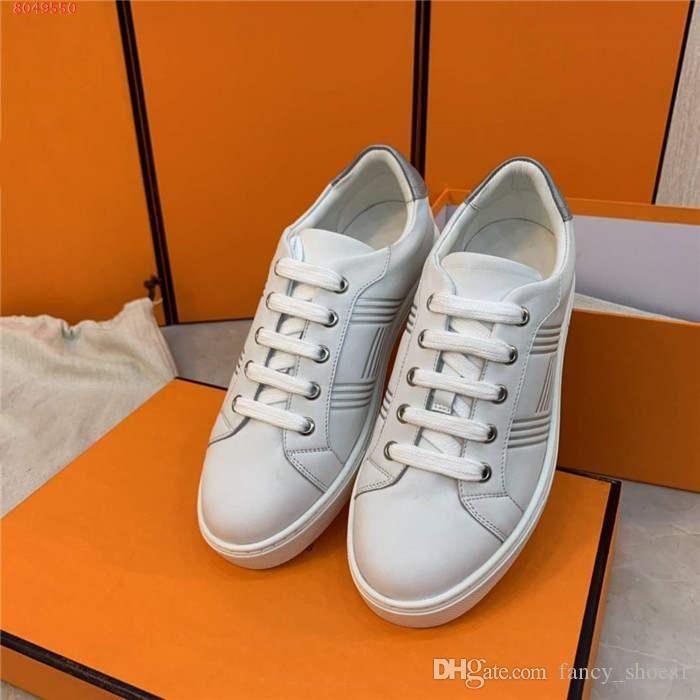 Scarpe donna casuali di sport con una pelle sneaker tacco basso-alto di corsa di sport di corrispondenza di colore lace-up piatto scarpe con scatola originale in esecuzione