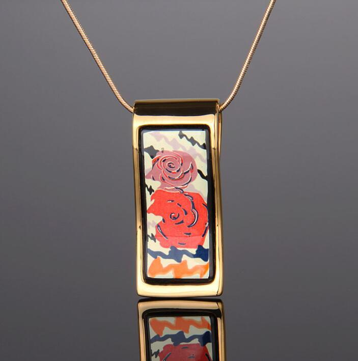 "Rose Series Necklaces18K gold-plated enamel necklaces for women Top quality ""S"" shape pendant necklaces women necklace deisgner jewelry"