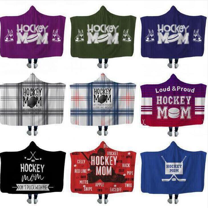 Hockey Hooded blankets Plush Sherpa Blanket Xmas 3D Printed Cape Cloak Fleece Soft Winter Swaddling Bedding Quilt Nap Wraps LXL680-3